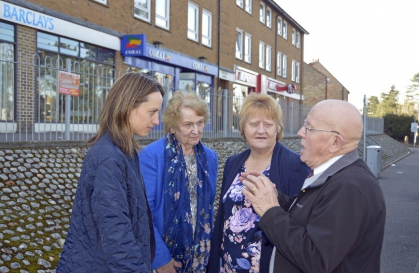 Helen and Marion discuss traffic and development issues with Residents