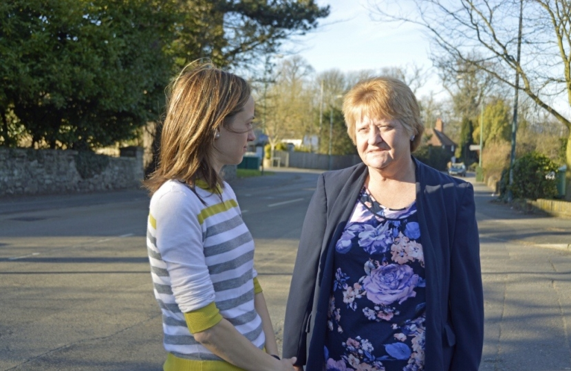 Cllr Marion Ring showing Helen Wately around her Ward of Shepway North
